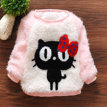2015 New  baby girl clothes o-neck full sleeve thickening warm hello kitty Winter baby girls sweater A104