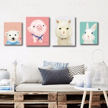 Kawaii Animal Piggy Poster Print  Modern Nordic Cartoon Nursery Wall Art Picture Kids Baby Room Decor Canvas Painting No Frame