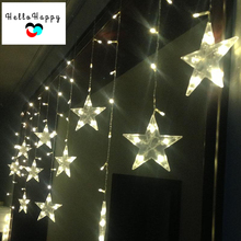 3M LED Christmas Lights Outdoor Window Curtain Lighting Indoor Fairy Lights Wedding Decoration Garland 220V EU 12 Stars Flasher