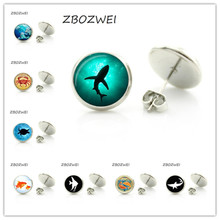ZBOZWEI Fashion marine life women stud earrings novelty ocean sea animal art shark crab octopus turtle fish charms jewelry(China)