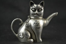 Chinese Collectible Decorate Handwork Old Tibetan silver carving cat Lucky tea pot(China)