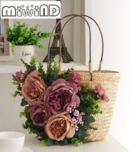 Dimensional flower applique by hand woven straw tote bags, stylish new summer beach travel tote bags, women's rose handbags