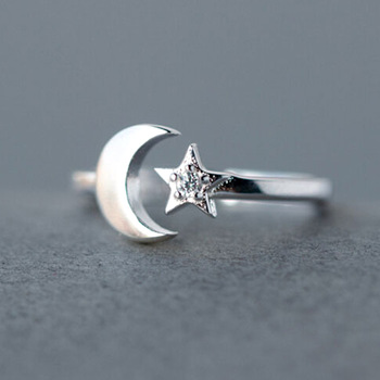 1Pcs Simple Bohemian Style Vintage 925 Sterling Silver  Star Moon Finger Rings Lucky Crescent Rings for Women Party Gift Jewelry