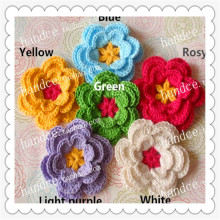 European luxury 4.8cm 20 pics natural cotton crochet guangzhou lace fabric flowers with 3D design as home decorative stamens