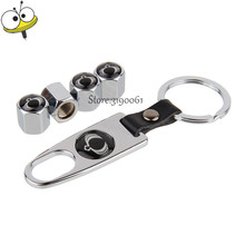 Tire Valve Stems Caps Stainless Steel Wheel With Mini Wrench Keychain For Ssangyong Kyron Actyon Korando Rexton Rodius Tivoli(China)