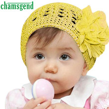Hot Chamsgend Newborn Knitting Woolen Yarn Flower Girl Baby Hat Crochet Braids Beanie Newborn Cap Brochet Pattern Jan12