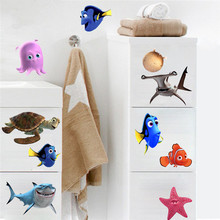 Bathroom wall tile stickers Sea Star Fish Nemo Turtle Shark anime 3d vinyl decals kids room decoration cartoon wallpaper posters