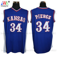 2017 Mens Dwayne Paul Pierce Jersey Cheap Throwback Basketball Jersey #34 Kansas Jayhawks KU College Retro Blue Shirts For Men