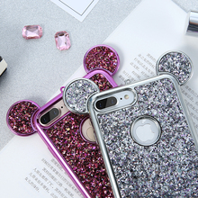 KISSCASE For iPhone 5S 5 X 7 6 6s Plus Case Silicon Bling Sequin 3D Phone Cover For iPhone 5S SE 6 7 Case Glitter Coque Fundas