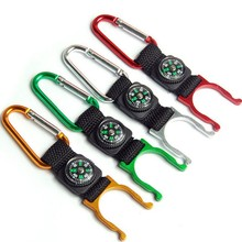 New Cheap Portable Mini Compass With Carabiner Mini Compass Colors Random Camping Hiking Tools Hanging Ring Type(China)