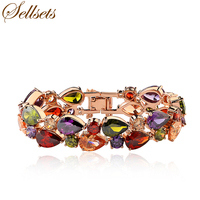 Sellsets Hotselling 17cm and 19cm  Rose Gold Color Cubic Zirconia Bracelets & Bangles Fashion Jewelry Bracelet