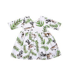 Kids Baby Girls Clothing Short Sleeve Cute Animals Deer Dress Princess Party Pageant Holiday Dresses Clothes