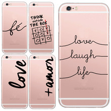 Super Slim Transparent LOVE LAUGH LIFE Printing Cell Phone Case For iphone8 8s/7 7s X Case Soft TPU Clear Skin Back Cover Capa(China)