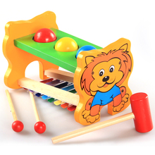 baby Wooden toys children small lion serinette hand knock piano harp table, xylophone music toy