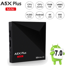 A5X Plus Mini Android 7.1 TV BOX Rockchip RK3328 Quad Core 1GB/8GB Android TV BOX WiFi UHD 4K 2K HDR 10 VP9 Smart Media Player(China)