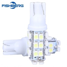 FISHBERG 2PCS T10 W5W 194 168 28 LED  3528 SMD  Wedge Lights License Plate Turn Signal Clearance Lamps DC12V