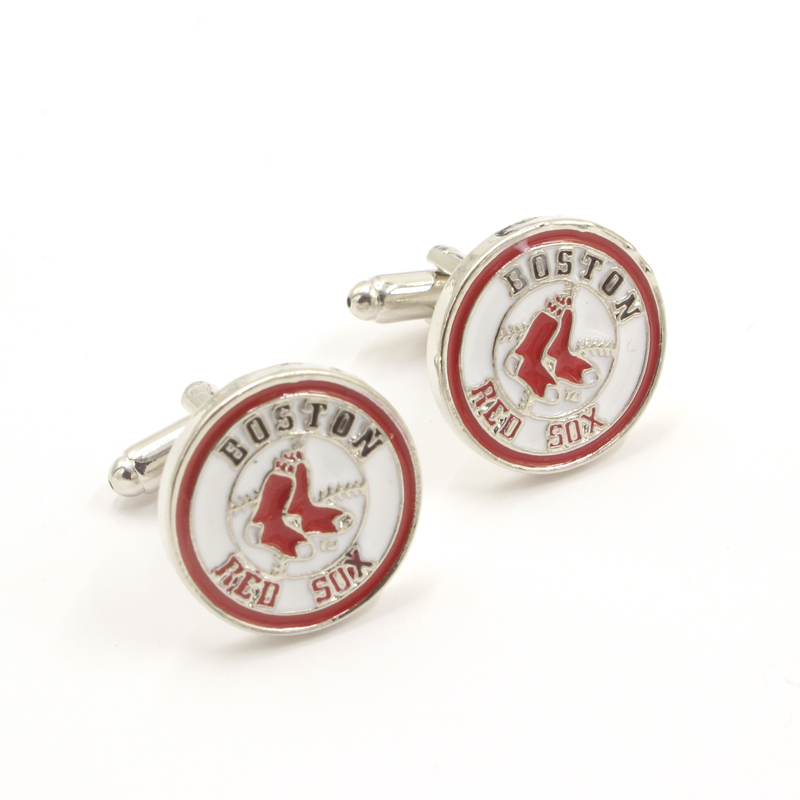 Professional Baseball Design Boston Red Sox Logo Cuff Links Top Grade Shirt Brand Cuff Buttons Christmas Gifts Cufflinks For Men(China (Mainland))