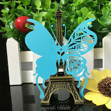 DIY 50pcs Butterfly Place Escort Wine Glass Cup Paper Card for Wedding Party Home Decorations White Blue Pink Purple Name Cards