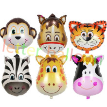 6 unids/lote horse & monkey y cebra y deer & cow & tiger Animales Cabeza de Helio Globos Foil Animal Aire globos de cumpleaños del tema party supplies