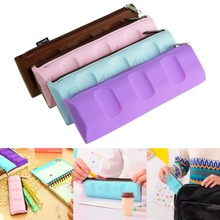 Silicone Chocolate Style Pencil Pen Case Coin Purse Cosmetic Bag Makeup Storage