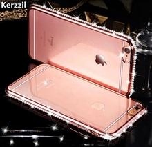 Kerzzil For iPhone 7 & 7 Plus Diamond Case For iPhone 6 6s 6 plus Slim Clear Soft TPU Crystal Rhinestone Silicone cover back