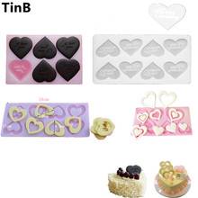 4 molds optional New 3D Heart Shape Chocolate Silicone Mold Bakeware 6 Cups Cake Cookie Icecream Sweet Cake Tools(China)