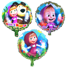 1 Masha & chicken &beer &rabbit party air balls Cartoon character martha Foil Balloons birthday Party decorations toy(China)
