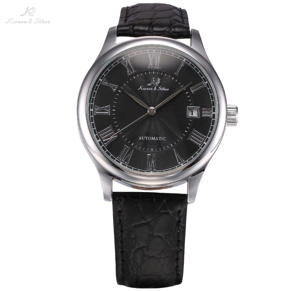 KS Auto Date Display Black Silver Relogio Black Leather Band Analog Mens Casual Clock Wrist Men Automatic Mechanical Watch/KS244<br>