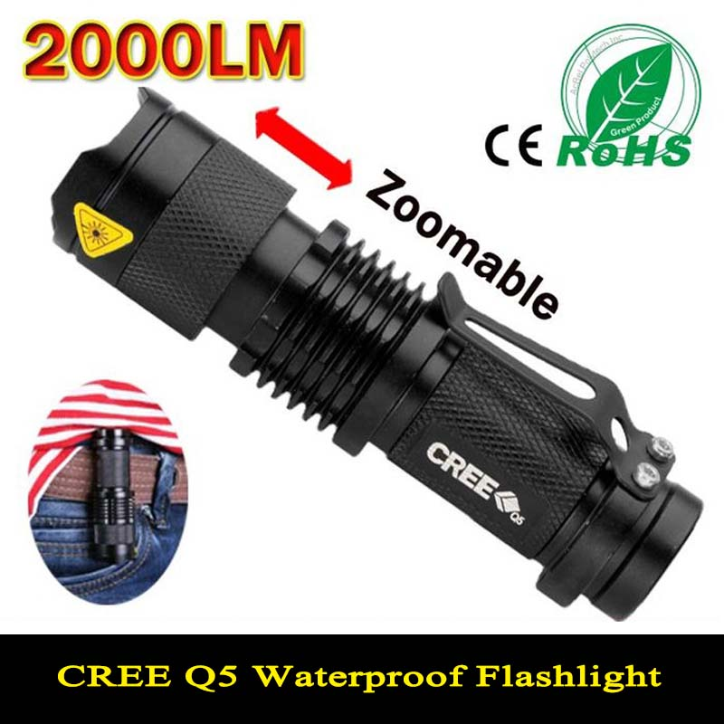 Mini LED Flashlight Waterproof Powerful LED Flashlight Tactical Flashlight 2000 Lumens Zoomable CREE 3 Modes LED Torch Linternas(China)