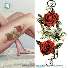 Body Art Long Colorful High Solution Body Art Red Rose Flowers Circle Design Temporary Fake Flash Tatoo Sticker Taty