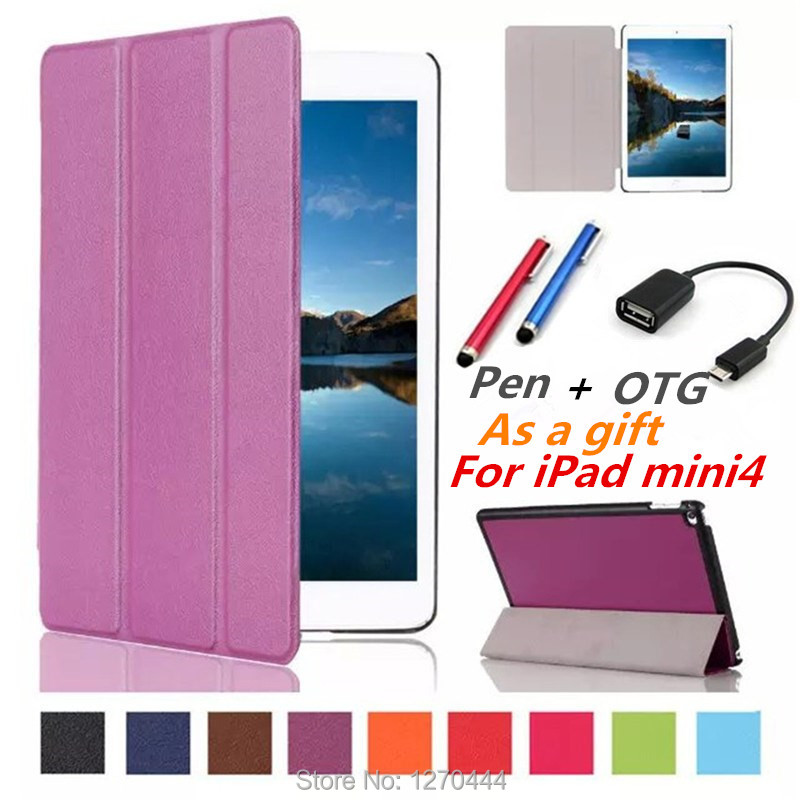 Leather Case cover capa para For Apple iPad mini 4 Case With Stand Card tablet case leather case for Apple iPad mini4 pen+OTG<br><br>Aliexpress