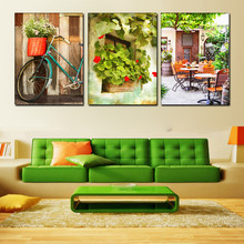 triptych Modular picture bicycle HD print canvas oil painting Child room Modern Movie poster home decoration Green leaves house