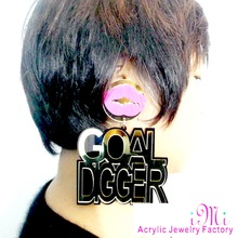 Sexy Lips Earrings Goal Digger Letters Earrings Big Hiphop Jewelry Fashion Woman's Accessories