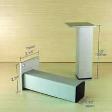 "aluminum table leg furniture cabinet stand feet metal 6"" 15cm height 4 pc"