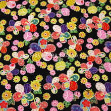 140X100cm Black Background Five-petaled Flowers Japanese Kimono Cotton Fabric for Woman Girl Cloth Sewing Patchwork - AFCK279(China)