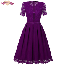Buy New Lace Patchwork Vintage Dress Women Summer Short Sleeve Rockabilly Party Dresses Female Clothes Swing Tunic Dress Z3D11 for $25.64 in AliExpress store