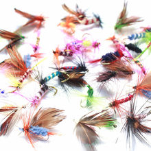 KKWEZVA 60pcs Lures Fly fishing Hooks Butterfly Insects Style Salmon Flies Trout Single Dry Fly Fishing Lure Fishing Tackle(China)
