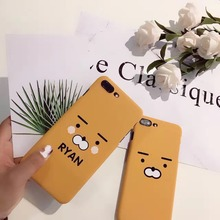 Korea Super Fashion Kakao Friends Ryan Pattern Hard Plastic Case Cover For Iphone5 5S SE 6 6S 7 7S 8 6P 7P 8P(China)