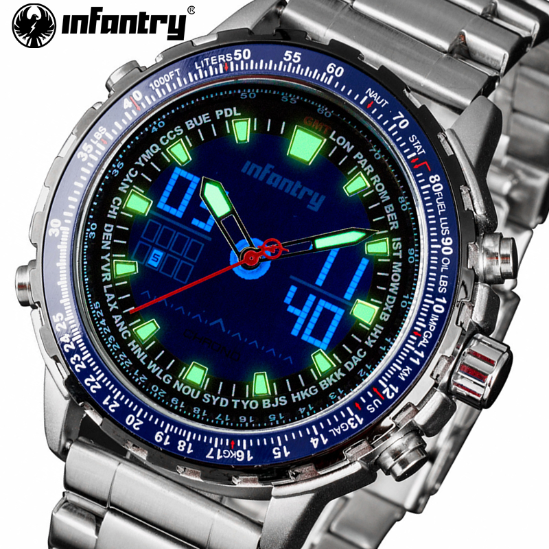 INFANTRY Mens Fashion Blue Dial Digital Watches Full Steel LED Display Sport Watch Chronograph Luminous Clock relogio masculino<br>