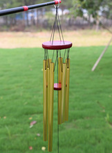 Amazing 6 Tubes Large Wind Bells Outdoor Living Yard Garden Decor 90cm Timber Metal Pipe