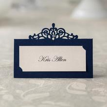 24pcs Blue Place Card Holder Table Centerpieces Number Name Card Wedding Banquet Decoration Event Party Cards & Invitations(China)