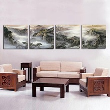 Framed 4 Panel Large Chinese Oil Painting Landscape 4 Panel Canvas Wall Art Interior Decoration Black and White Picture  A1191