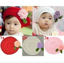 Head Make Baby Girl Hat Floral Ornament Red White Pink Cap  Newborn Photography Props Berets Good Head Accessories
