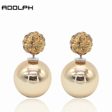ADOLPH Jewelry Nice Gold Sliver Korean Crystal Two Ball Pearls Stud Earrings Fashion double Pearl Women Earrings Zinc Alloy