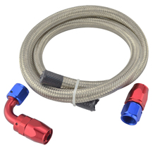 AN 6 Straight Hose End 90 Degree Swivel Oil Fittings Adapter Kit AN6 Double Stainless Braided Hose Oil Fuel Hose 1M/3.3FT
