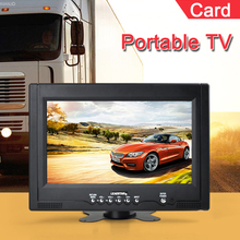 Free Shipping Televisions 9 inch TFT LCD AV IN Color Analog Portable TV With Wide View Angle, Support SD/MMC Card(China)