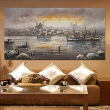 Sunset Boat and Ocean Hand Painted Oil Painting On Canvas Wall Pictures For Living Room Free Shipping(China)