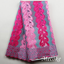 Hot selling african Tulle lace fabric high quality cotton african lace fabric for fuchsia Embroidery France Swiss voile lace