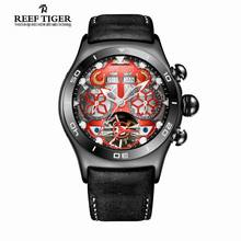 Reef Tiger/RT Mens Sport Watches Skeleton Dial and Hands Year Month Date Day Watch Luminous Black Steel Automatic Watch RGA703(China)