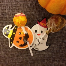new 50pcs lollipop pumpkin ghost cover Halloween design trick or treat children candy decorate holiday gift packaging(China)